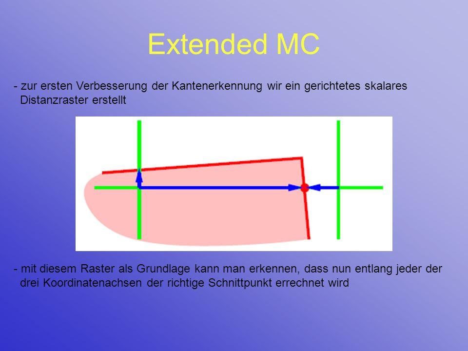 Extended MC zur ersten Verbesserung der Kantenerkennung wir ein gerichtetes skalares Distanzraster erstellt.