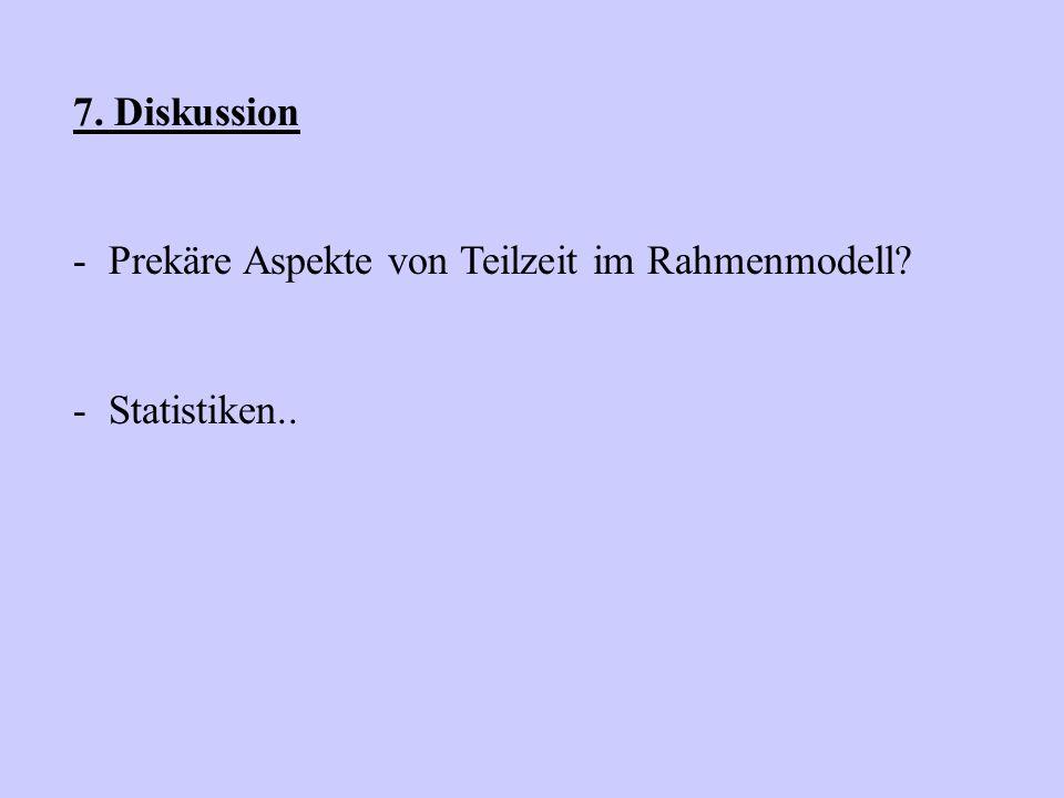 7. Diskussion Prekäre Aspekte von Teilzeit im Rahmenmodell Statistiken..