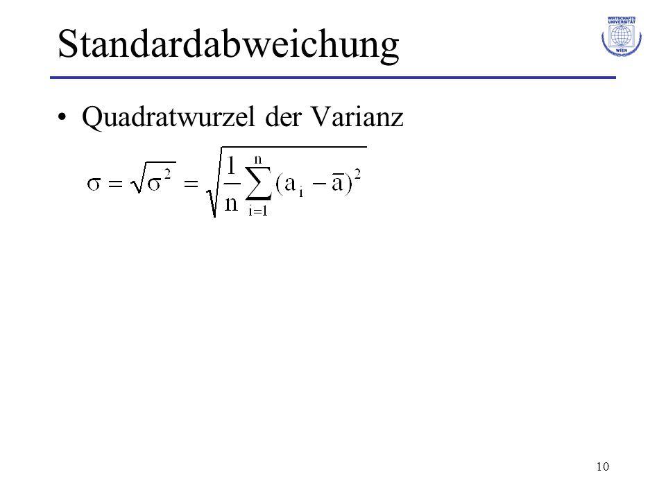 Standardabweichung Quadratwurzel der Varianz