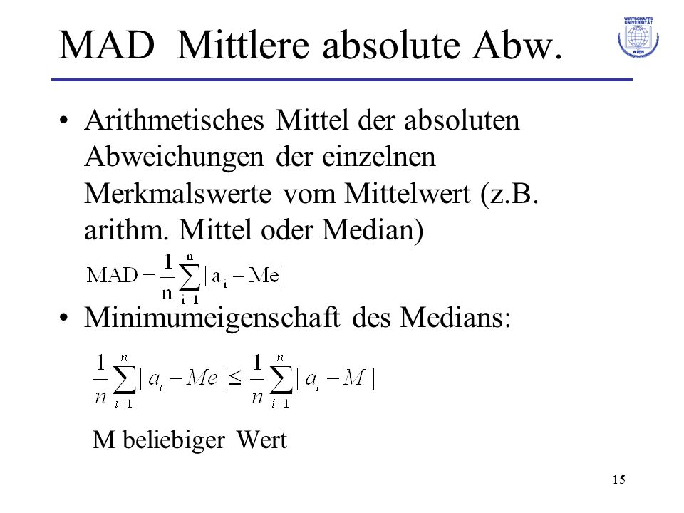 MAD Mittlere absolute Abw.