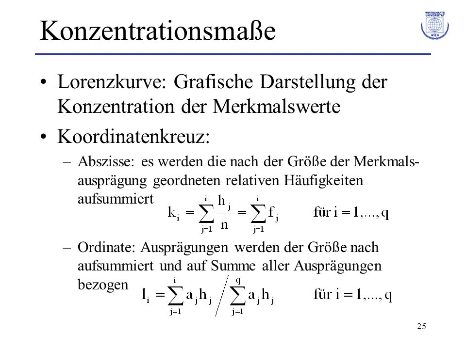 Konzentrationsmaße Lorenzkurve: Grafische Darstellung der Konzentration der Merkmalswerte. Koordinatenkreuz: