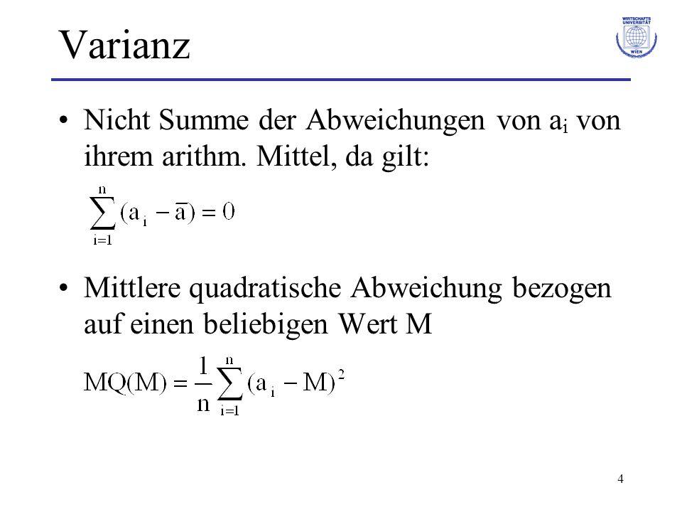 Varianz Nicht Summe der Abweichungen von ai von ihrem arithm.