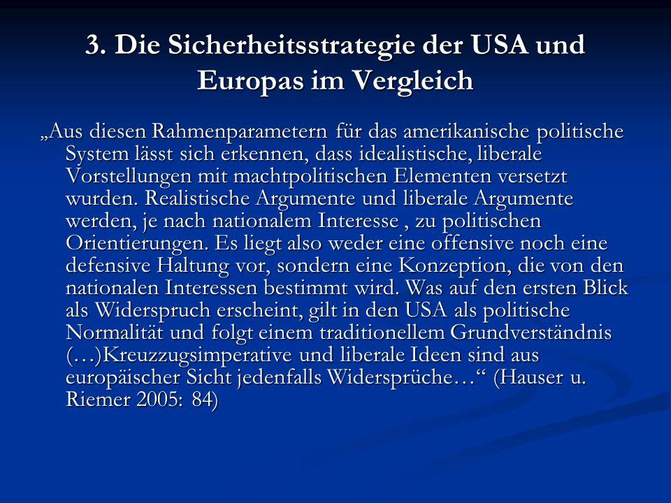 3. Die Sicherheitsstrategie der USA und Europas im Vergleich