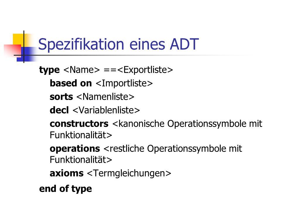 Spezifikation eines ADT