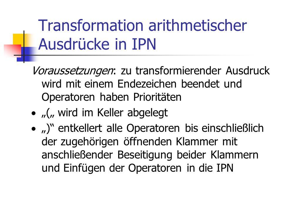 Transformation arithmetischer Ausdrücke in IPN