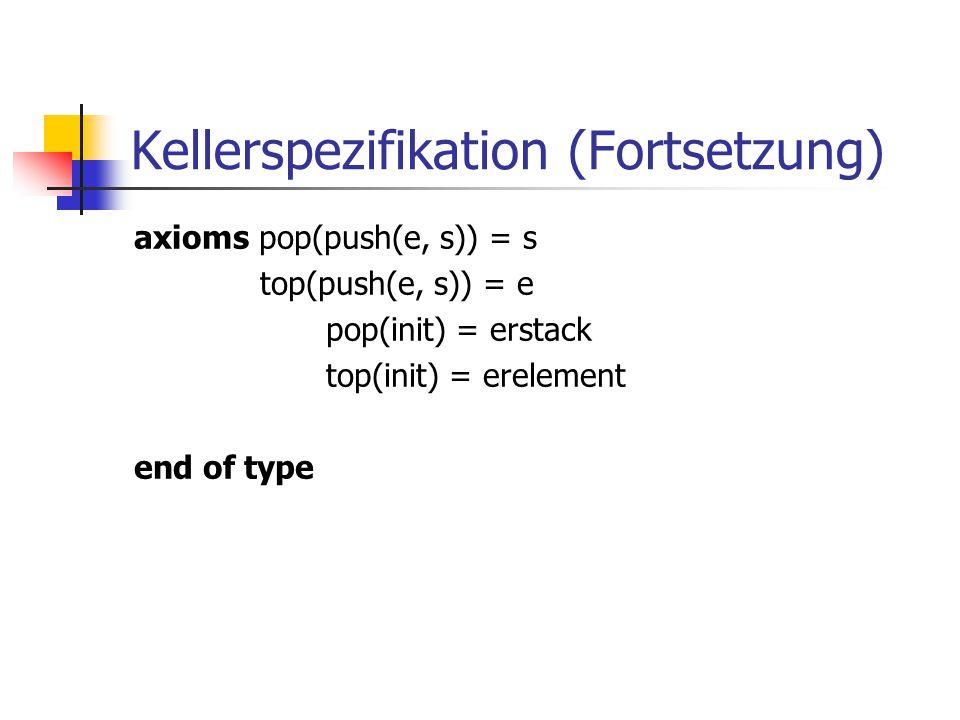 Kellerspezifikation (Fortsetzung)