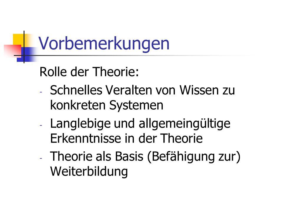 Vorbemerkungen Rolle der Theorie:
