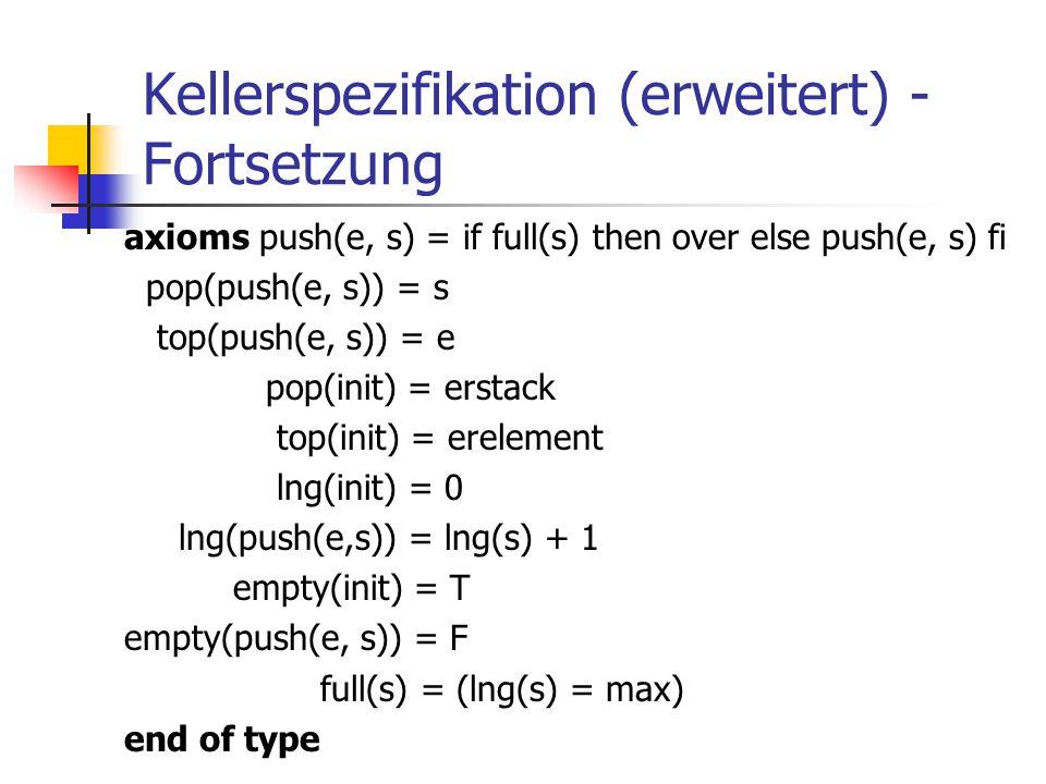 Kellerspezifikation (erweitert) - Fortsetzung