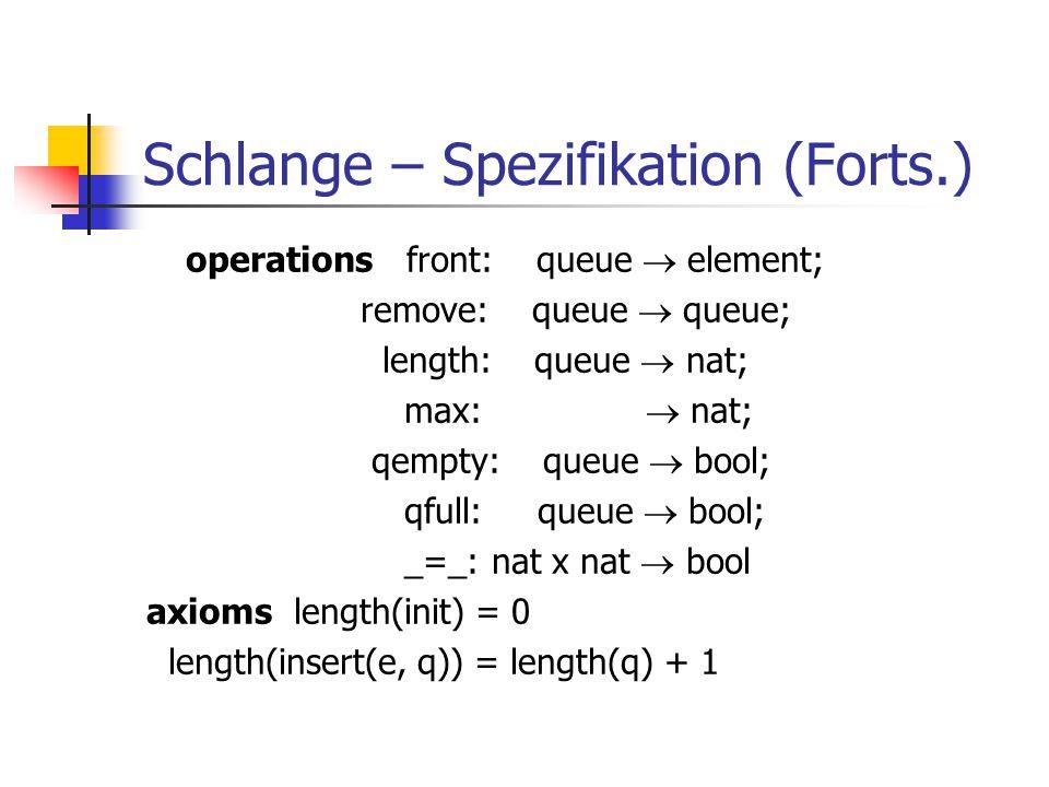 Schlange – Spezifikation (Forts.)