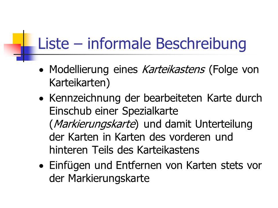 Liste – informale Beschreibung
