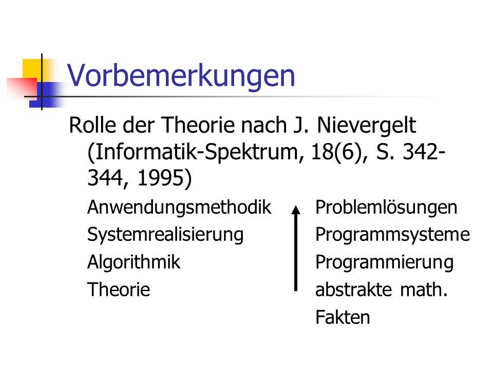 Vorbemerkungen Rolle der Theorie nach J. Nievergelt (Informatik-Spektrum, 18(6), S. 342-344, 1995) Anwendungsmethodik Problemlösungen.
