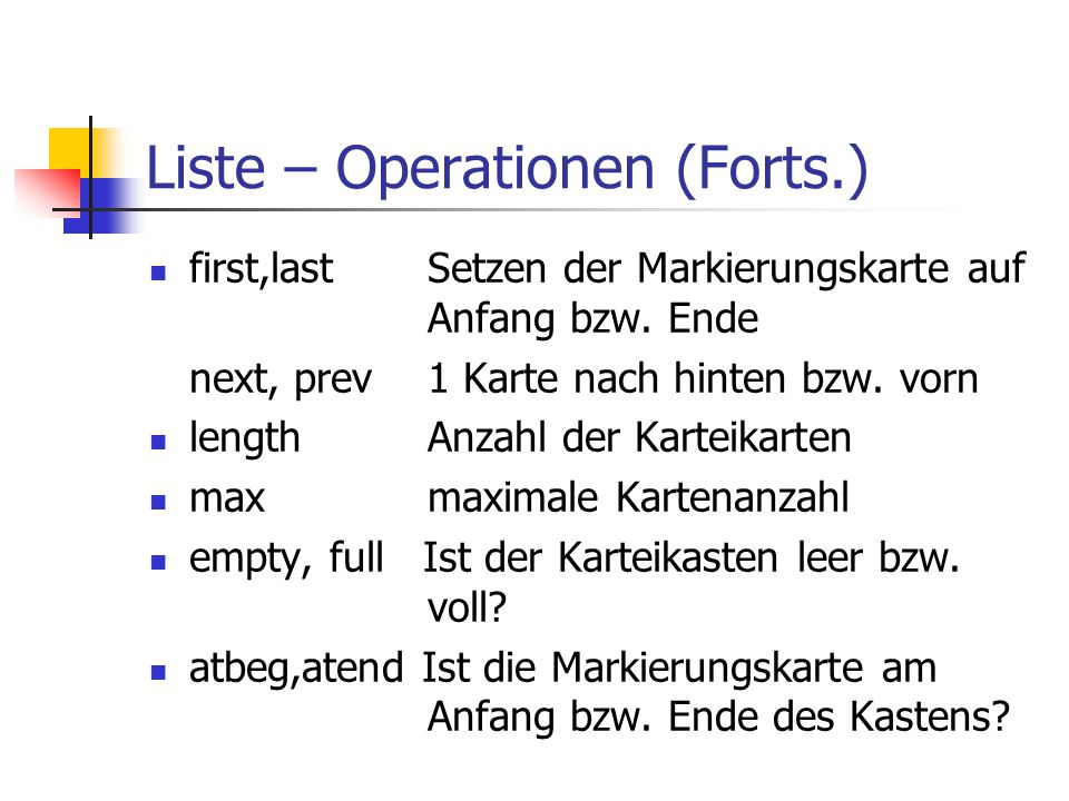 Liste – Operationen (Forts.)