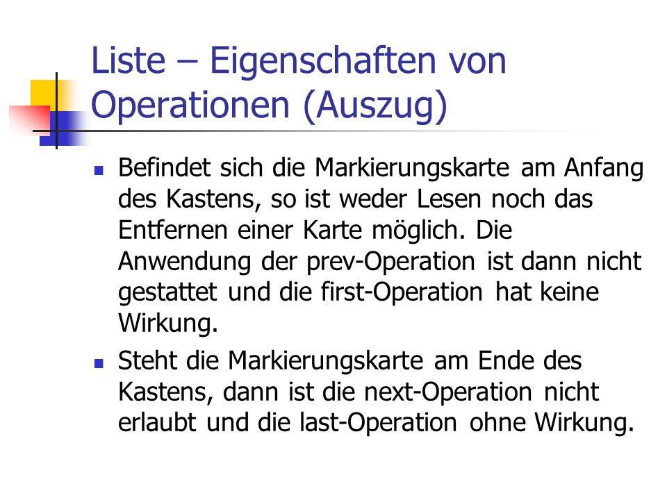 Liste – Eigenschaften von Operationen (Auszug)