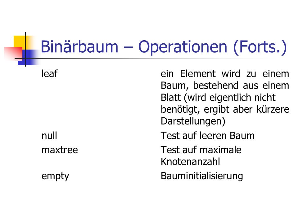 Binärbaum – Operationen (Forts.)