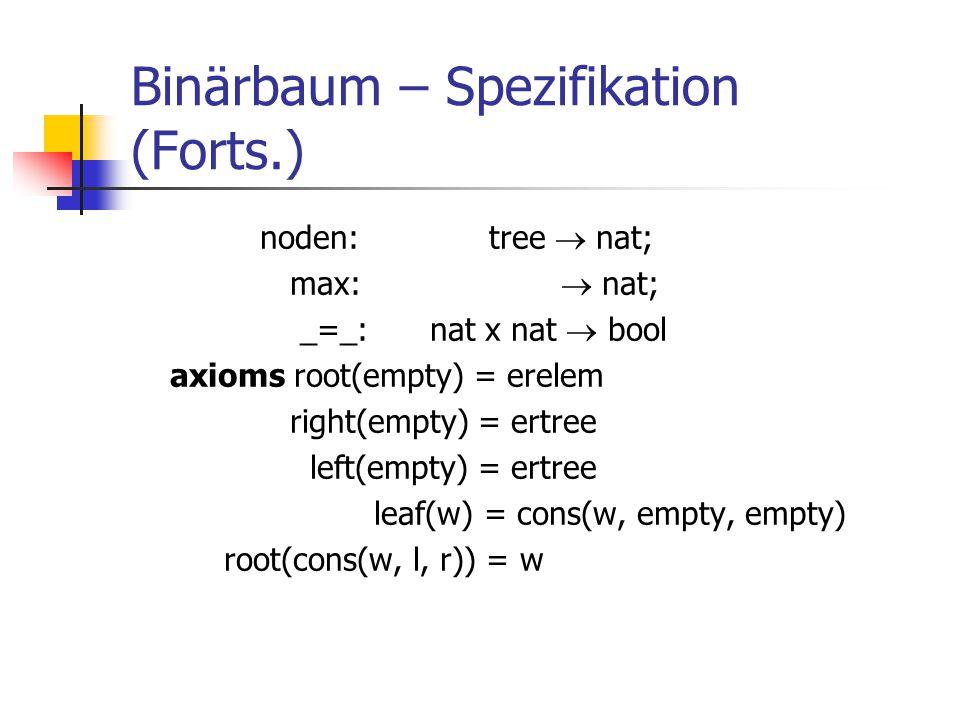 Binärbaum – Spezifikation (Forts.)
