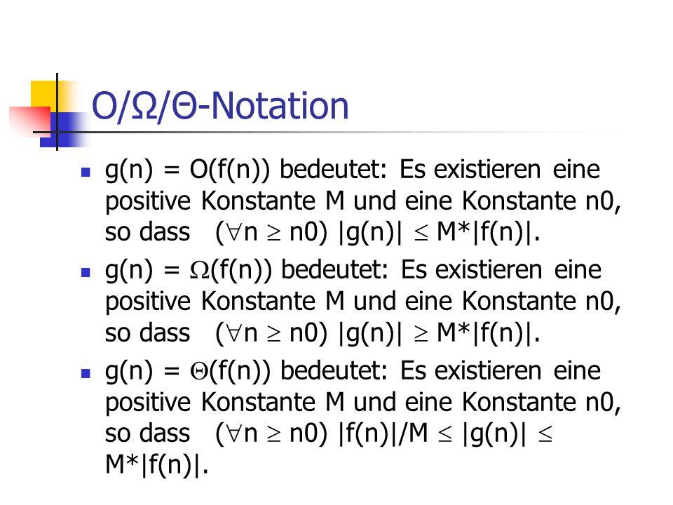 O/Ω/Θ-Notation g(n) = O(f(n)) bedeutet: Es existieren eine positive Konstante M und eine Konstante n0, so dass (n  n0) |g(n)|  M*|f(n)|.