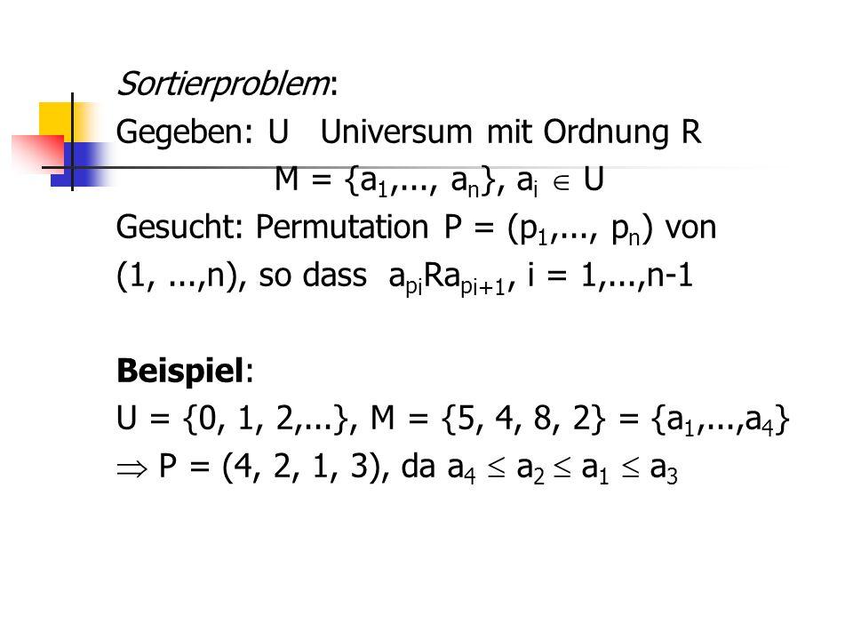 Sortierproblem: Gegeben: U Universum mit Ordnung R M = {a1,