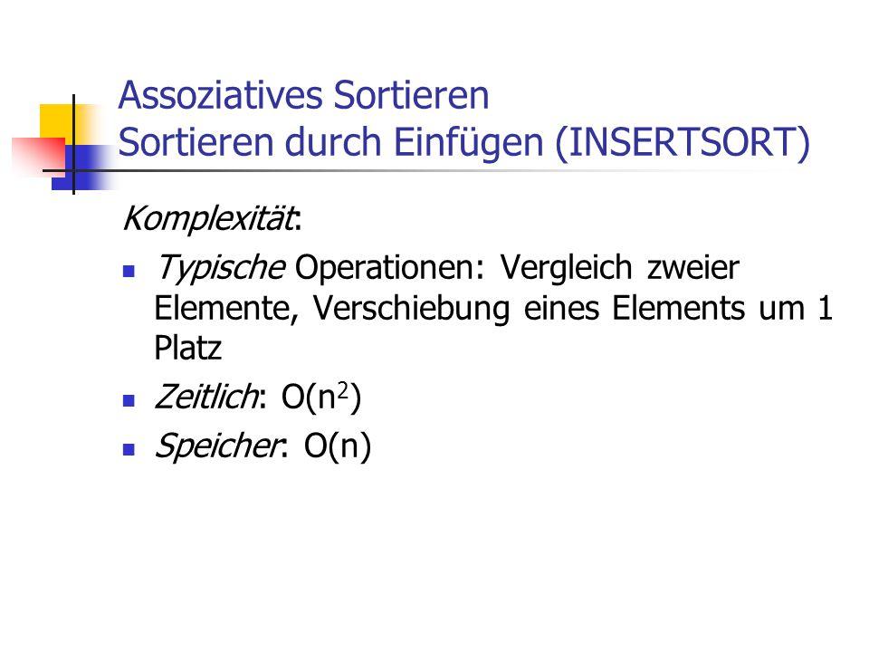 Assoziatives Sortieren Sortieren durch Einfügen (INSERTSORT)