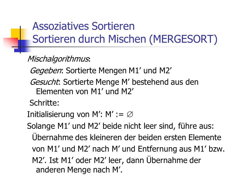 Assoziatives Sortieren Sortieren durch Mischen (MERGESORT)