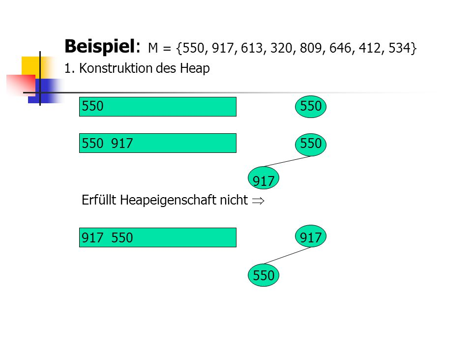 Beispiel: M = {550, 917, 613, 320, 809, 646, 412, 534} 1. Konstruktion des Heap. 550 550. 550 917 550.