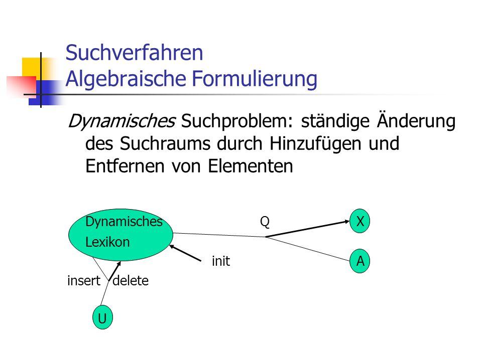 Suchverfahren Algebraische Formulierung
