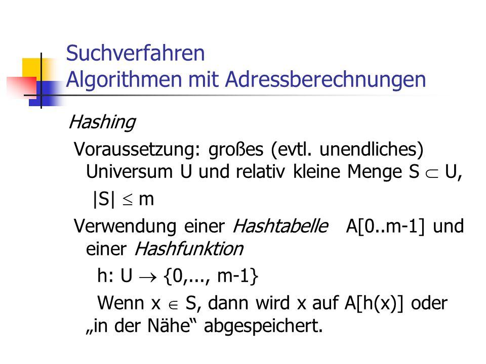 Suchverfahren Algorithmen mit Adressberechnungen