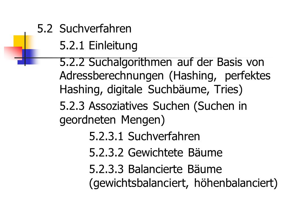 5. 2 Suchverfahren 5. 2. 1 Einleitung 5. 2