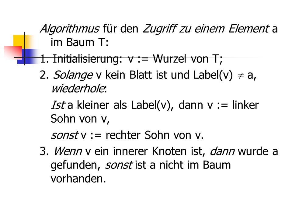 Algorithmus für den Zugriff zu einem Element a im Baum T: 1