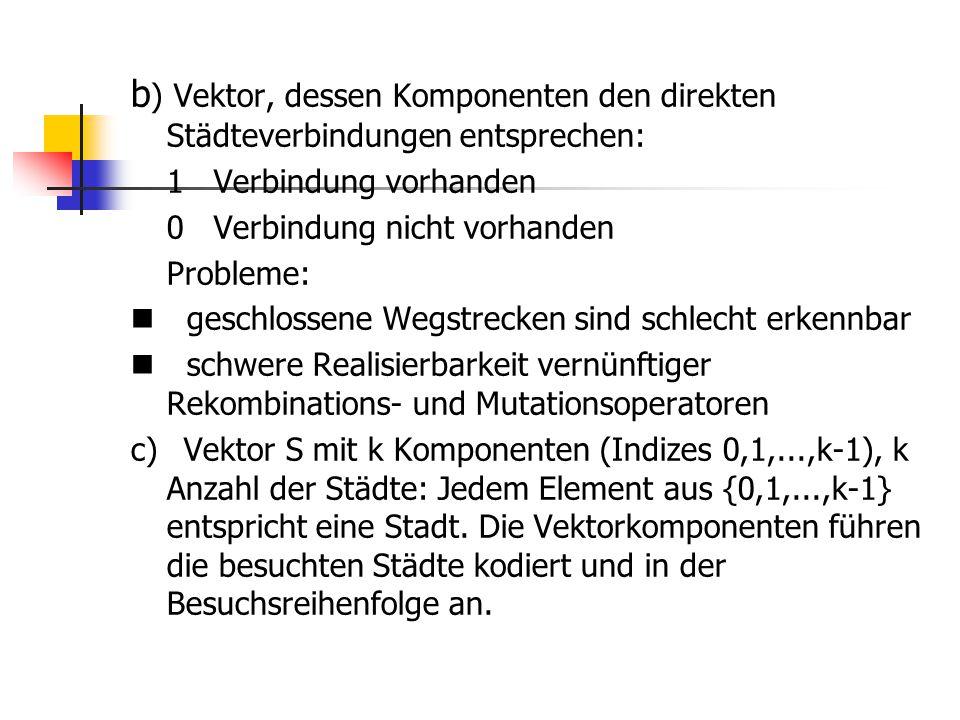 b) Vektor, dessen Komponenten den direkten Städteverbindungen entsprechen: