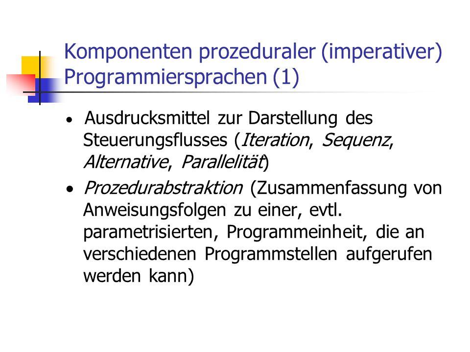 Komponenten prozeduraler (imperativer) Programmiersprachen (1)