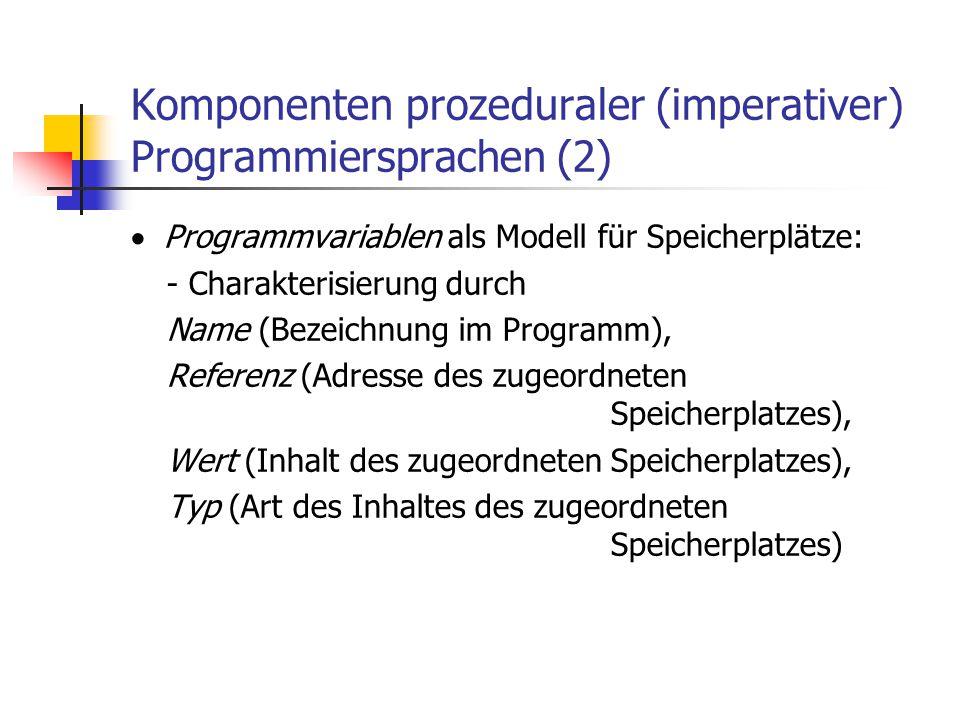 Komponenten prozeduraler (imperativer) Programmiersprachen (2)