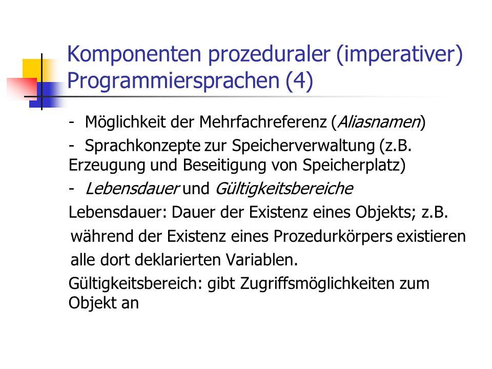 Komponenten prozeduraler (imperativer) Programmiersprachen (4)