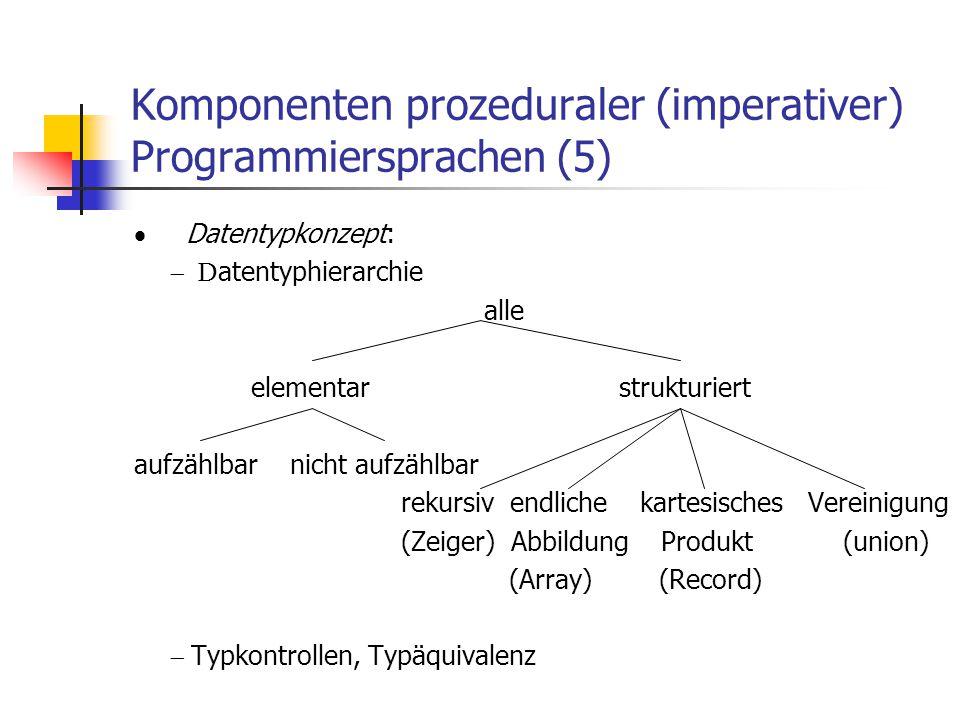 Komponenten prozeduraler (imperativer) Programmiersprachen (5)