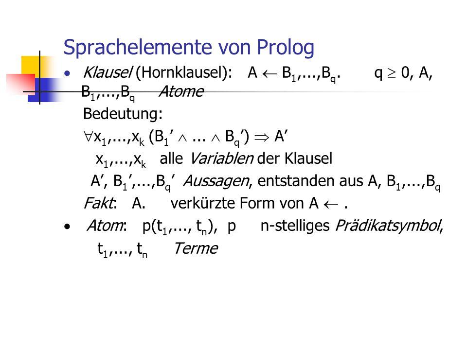 Sprachelemente von Prolog