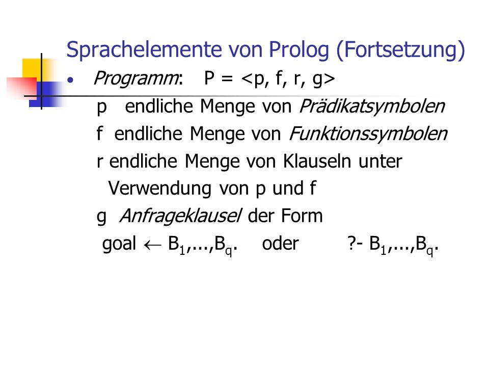 Sprachelemente von Prolog (Fortsetzung)