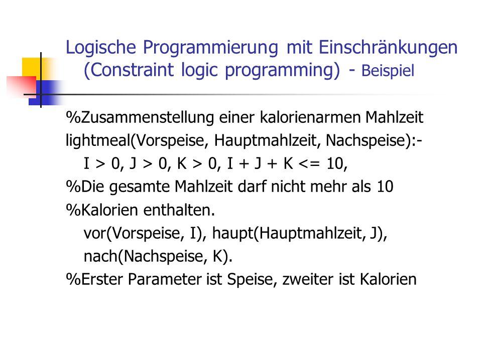 Logische Programmierung mit Einschränkungen (Constraint logic programming) - Beispiel
