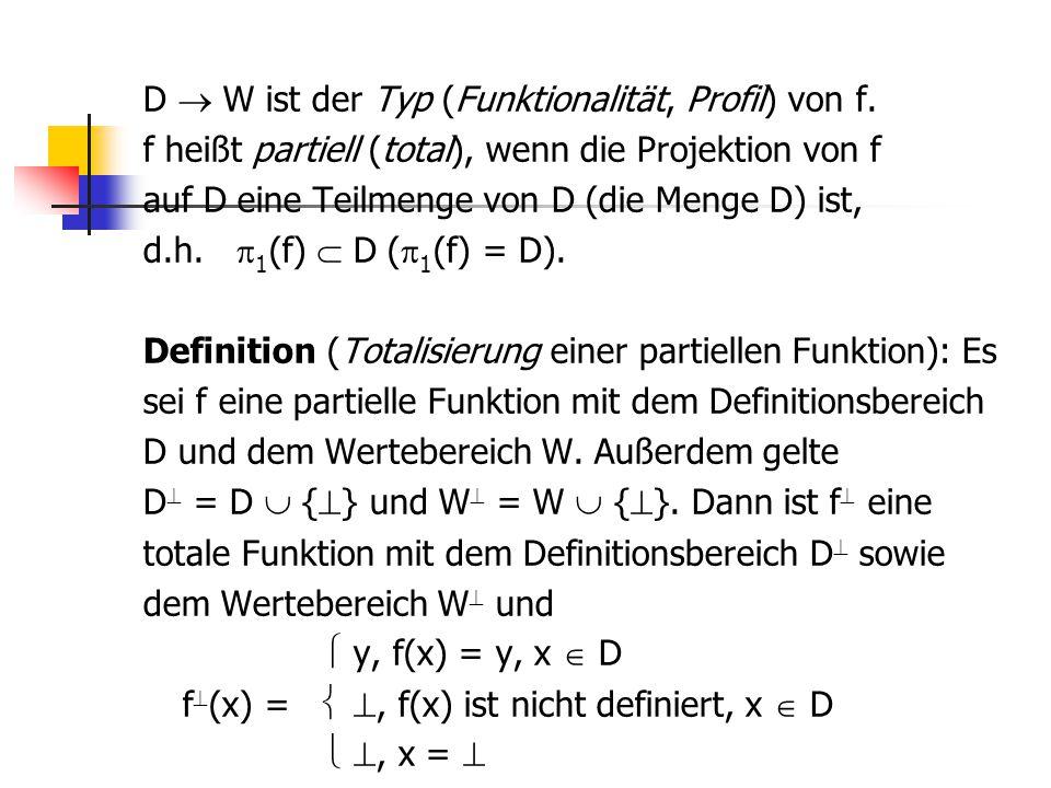 D  W ist der Typ (Funktionalität, Profil) von f