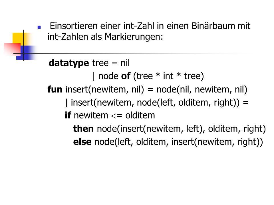 Einsortieren einer int-Zahl in einen Binärbaum mit int-Zahlen als Markierungen: