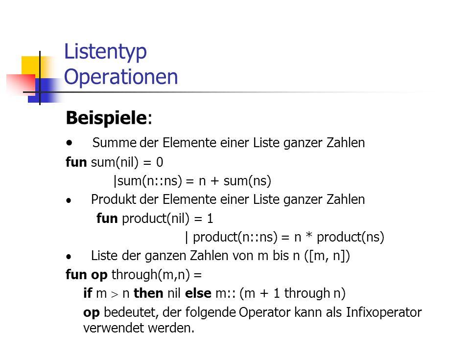 Listentyp Operationen