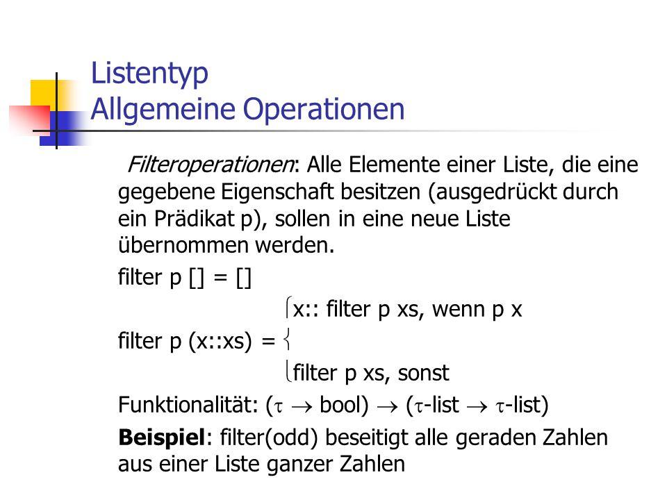 Listentyp Allgemeine Operationen