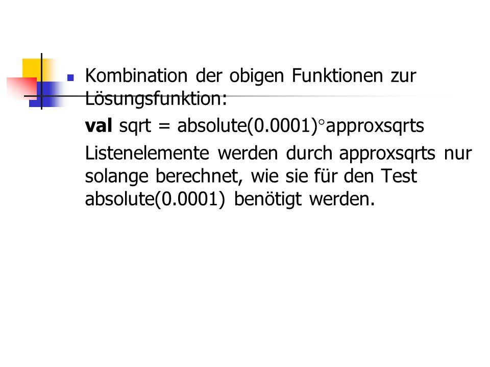 Kombination der obigen Funktionen zur Lösungsfunktion: