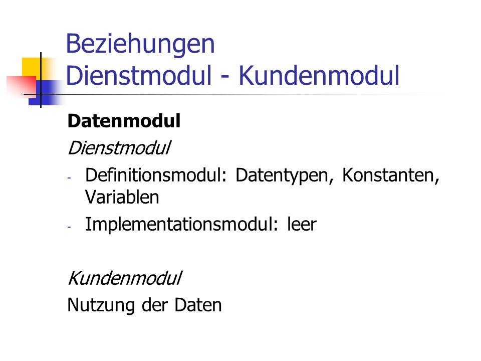 Beziehungen Dienstmodul - Kundenmodul