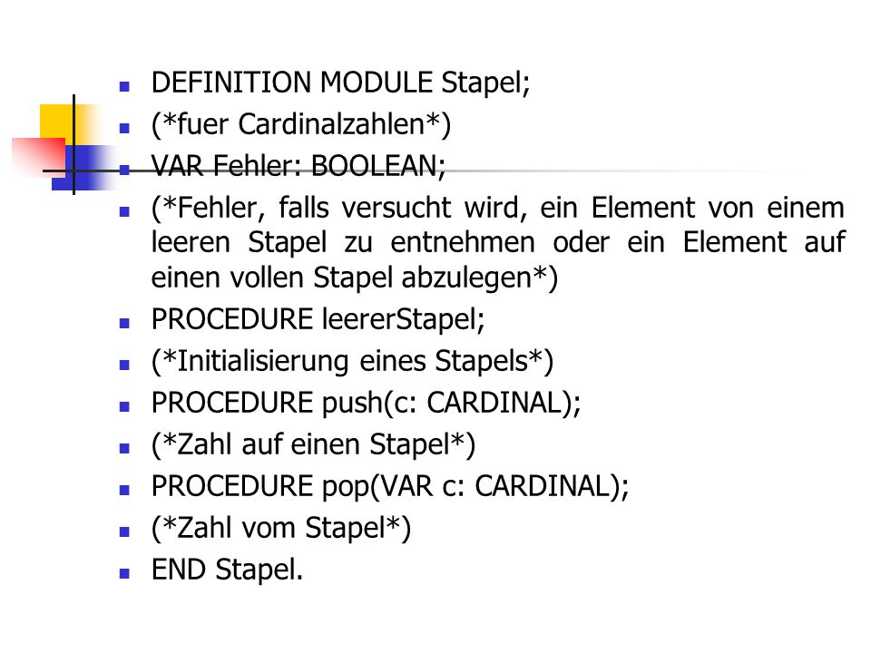 DEFINITION MODULE Stapel;