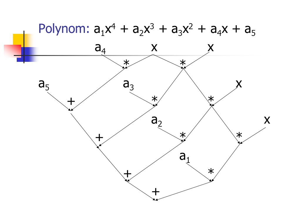 Polynom: a1x4 + a2x3 + a3x2 + a4x + a5 a4 x x * * a5 a3 x + * * a2 x a1 + * +