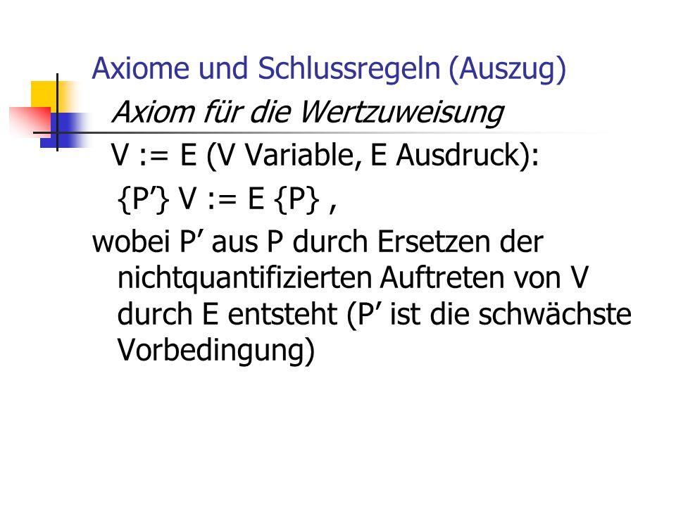 Axiome und Schlussregeln (Auszug) Axiom für die Wertzuweisung V := E (V Variable, E Ausdruck): {P'} V := E {P} , wobei P' aus P durch Ersetzen der nichtquantifizierten Auftreten von V durch E entsteht (P' ist die schwächste Vorbedingung)