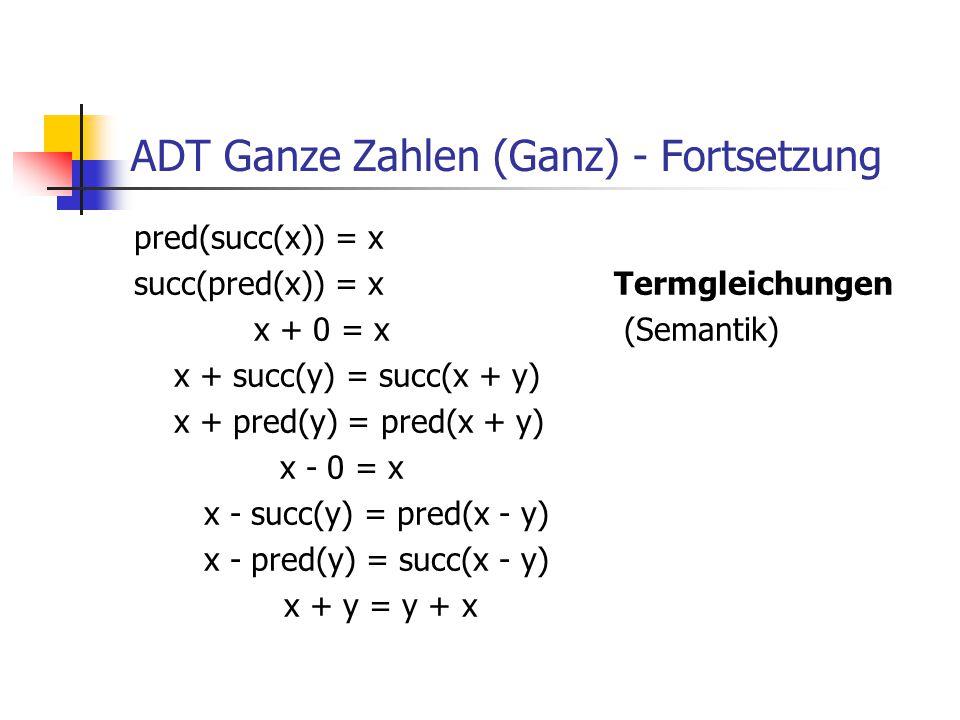 ADT Ganze Zahlen (Ganz) - Fortsetzung