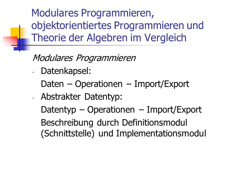 Modulares Programmieren, objektorientiertes Programmieren und Theorie der Algebren im Vergleich