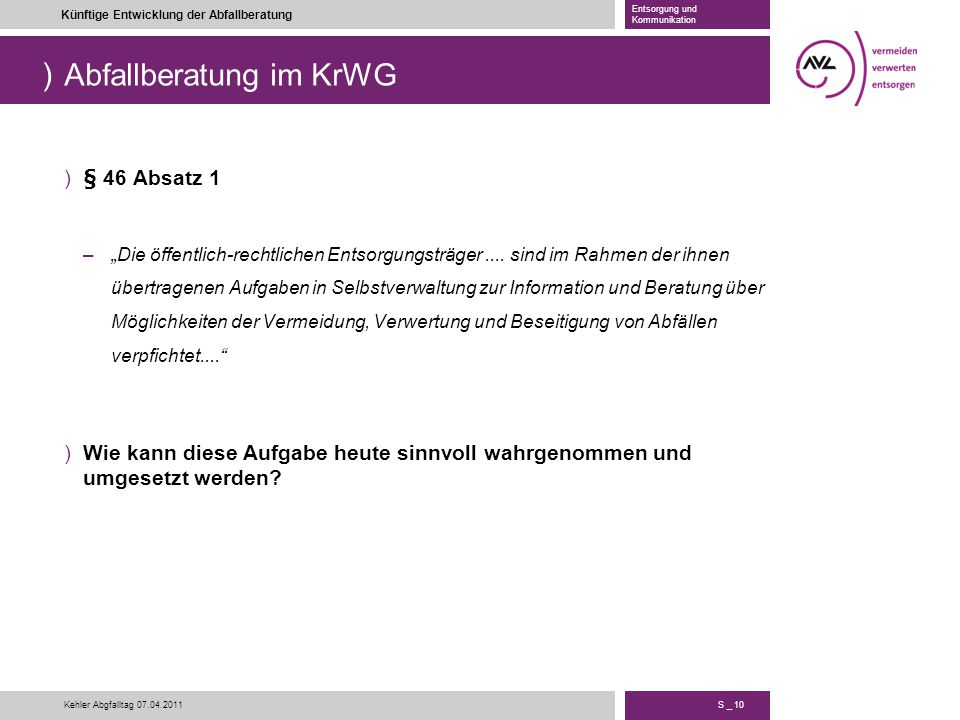 Abfallberatung im KrWG
