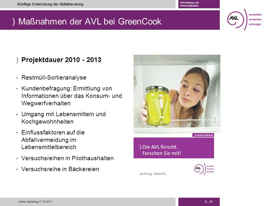 Maßnahmen der AVL bei GreenCook
