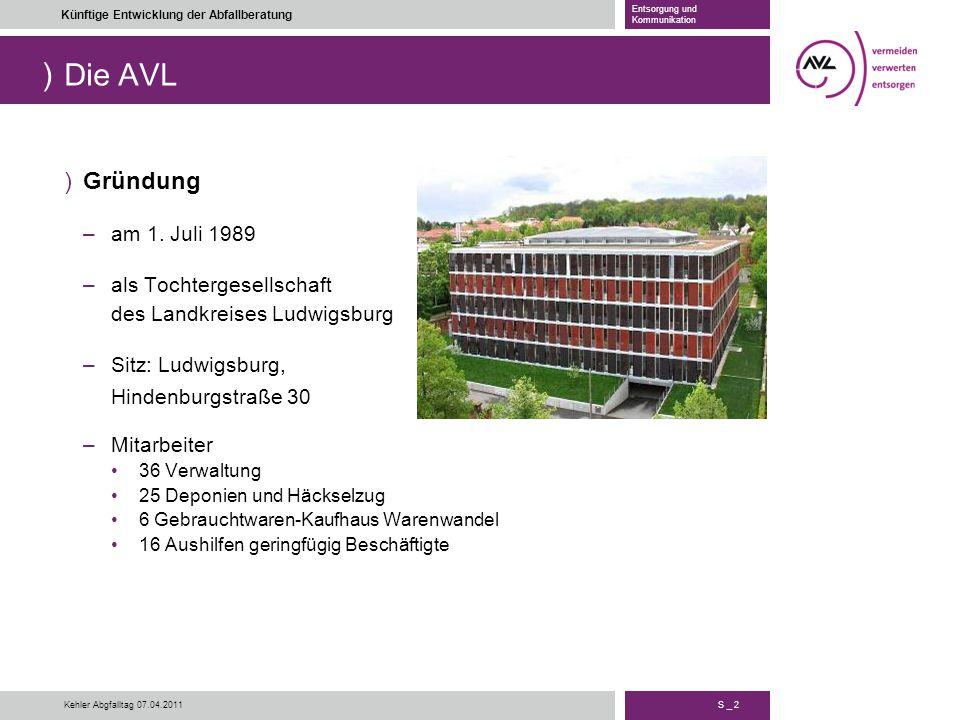 Die AVL Gründung am 1. Juli 1989 als Tochtergesellschaft